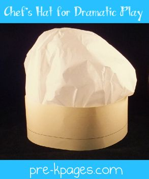 Easy DIY chef hat for dramatic play via www.pre-kpages.com #preschool - each student can make his/her own for a variety of drama centres. photo on each with name as well