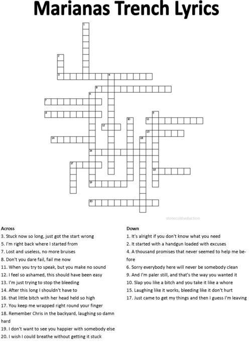 MT lyrics crossword (pretty sure they're all titles.)