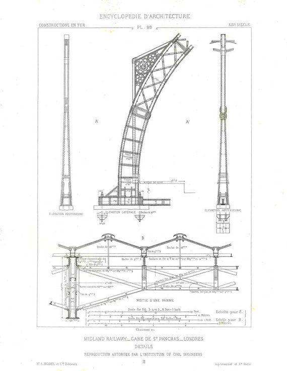 Disegno tecnico di ghisa Railway Station, architettura vittoriana, Saint Pancras architetto Print, Wall Art, illustrazione antica incisione
