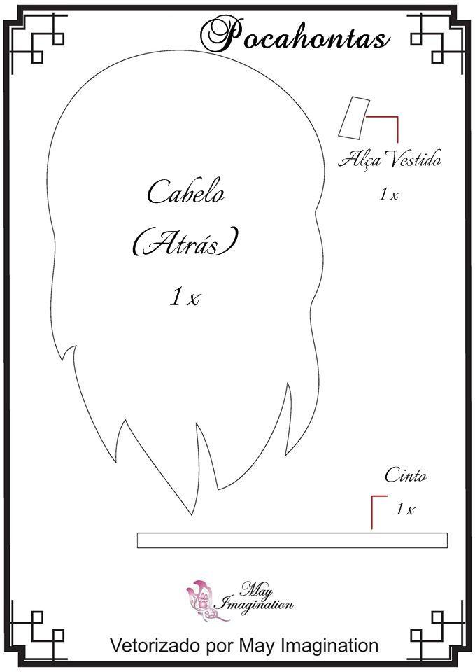 Molde Pocahontas em feltro: Cabelo, Alça do vestido e Cinto.