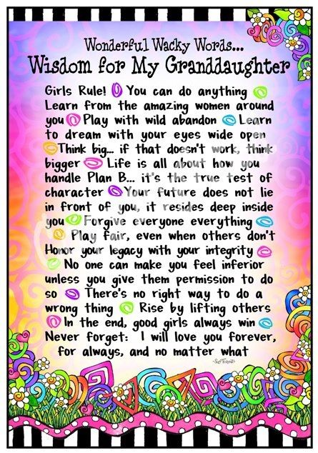 """Wonderful Wacky Words... Wisdom for My Granddaughter ..."