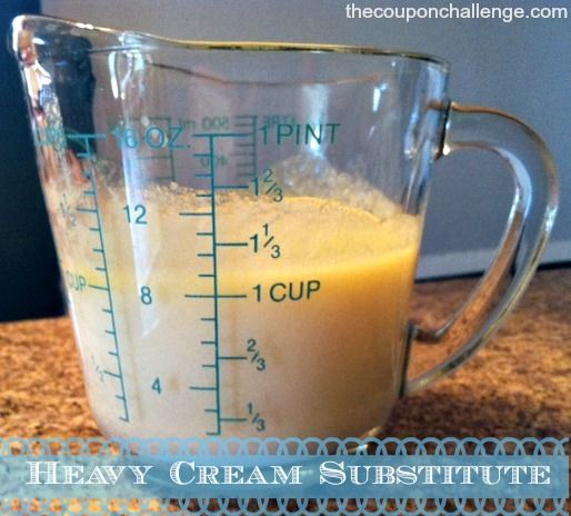 Don't run to the store just for heavy cream again!  Use this DIY Heavy Cream Substitute Recipe to save money and time.  You should have everything you need on hand to make your own heavy cream right at home.