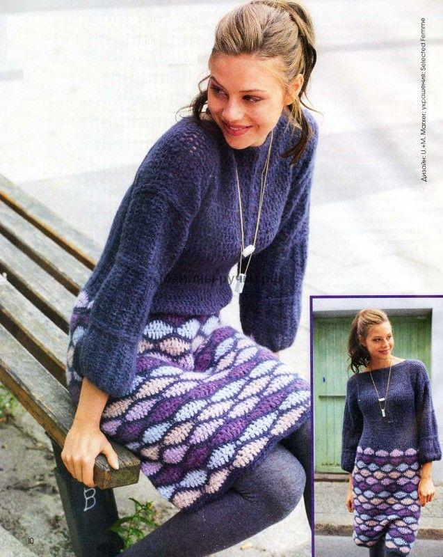 Теплое платье вязаное крючком