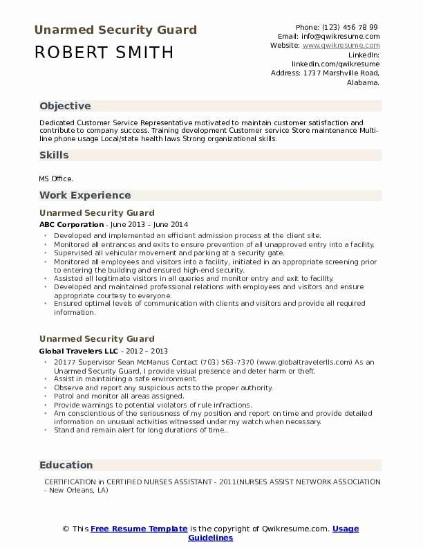 Security Guard Resume Skills Printable Resume Template In 2020 Resume Examples Resume Objective Manager Resume