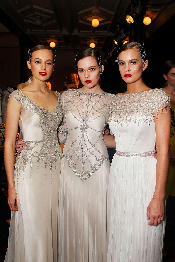 Art Deco vintage inspired Gwendolynne 'Elke, Phoebe and Alexis' Wedding Dress backstage at Mercedes-Benz Fashion Festival Sydney. Hair: Redken Make up: Maybelline New York - Australia