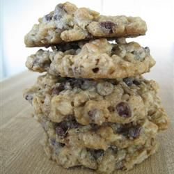 1 cup butter, softened   1 cup packed light brown sugar   1/2 cup white sugar   2 eggs   2 teaspoons vanilla extract   1 1/4 cups all-purpose flour   1/2 teaspoon baking soda   1 teaspoon salt   3 cups quick-cooking oats   1 cup semisweet chocolate chips