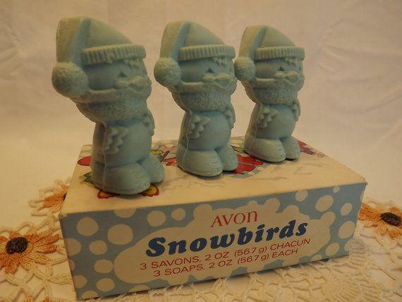 Avon Snowbirds savons, 3 en forme d'oiseau mignon bébé bleu Vintage, savons de marque Avon Products, LTD, nouveau dans la savons de boîte décoratifs