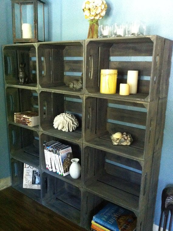 $237 including shipping. Favorite use of crates - Small wooden crate bookshelf rustic apple crates by DesignedForUse