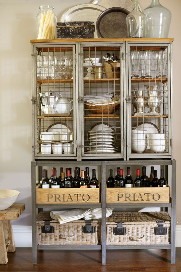 Wine/Beverage center (use chicken wire for cabinet doors for a farmhouse look - PotteryBarn.com