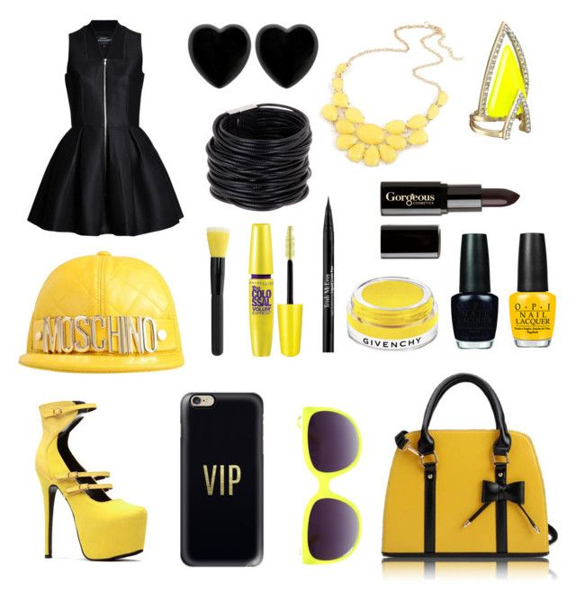 """Black & Yellow by Wiz Khalifa - Song Inspiration"" by samahafiz2000 ❤ liked on Polyvore featuring Dollydagger, Saachi, Alexis Bittar, Casetify, Moschino, Gorgeous Cosmetics, Givenchy, Trish McEvoy, Maybelline and OPI"
