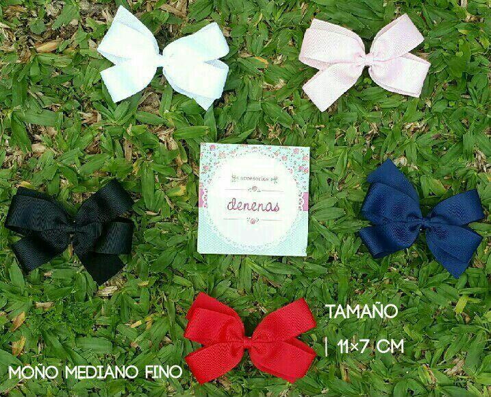 Moño mediano fino. Negro - blanco - rosa claro - azul oscuro - rojo - Moños para niñas - Bows for girls #accesorios para nenas @denenasaccesorios