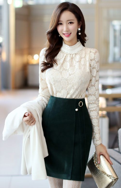 StyleOnme_Pearl Brooch Set Wool Pencil Skirt #green #feminine #elegant #lace #pencilskirt #formal #koreanfashion #kstyle #seoul #pearl #brooch