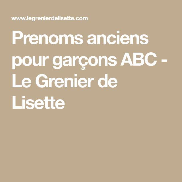 Prenoms anciens pour garçons ABC - Le Grenier de Lisette