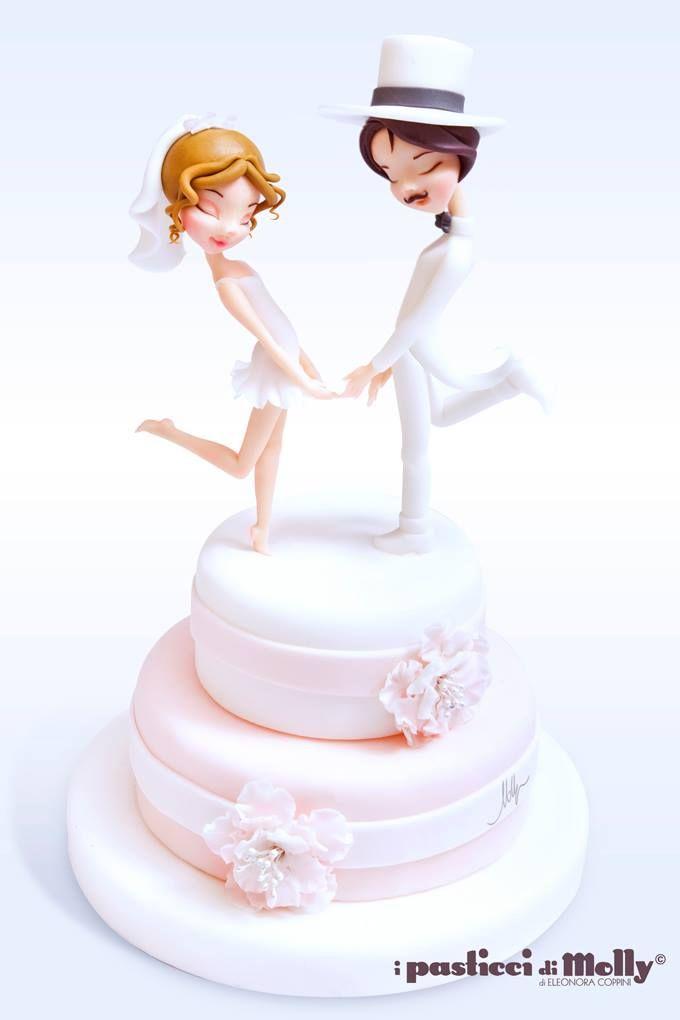 Cute couple wedding cake.