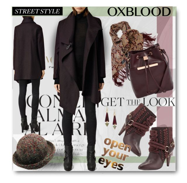"""""""Now Trending: Oxblood"""" by esch103 ❤ liked on Polyvore featuring Ted Baker, Ivy Kirzhner, AllSaints, Alexis Bittar, oxblood, StreetSyle and polyvoreeditorial"""