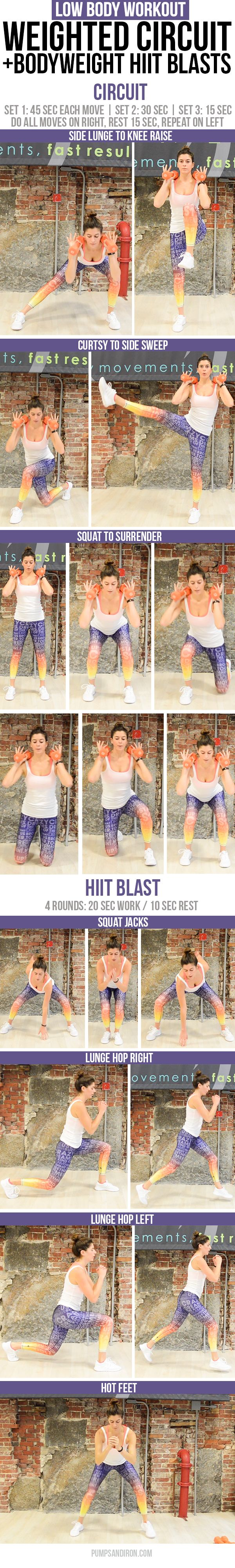 Low Body Circuit Workout with HIIT Blasts - you'll just need a set of weights and 15 minutes! (video included if you want to follow along at home)