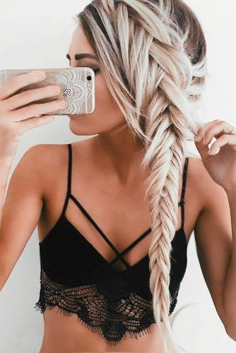 Fusion of French and Fishbone Braids for Glamorous Look