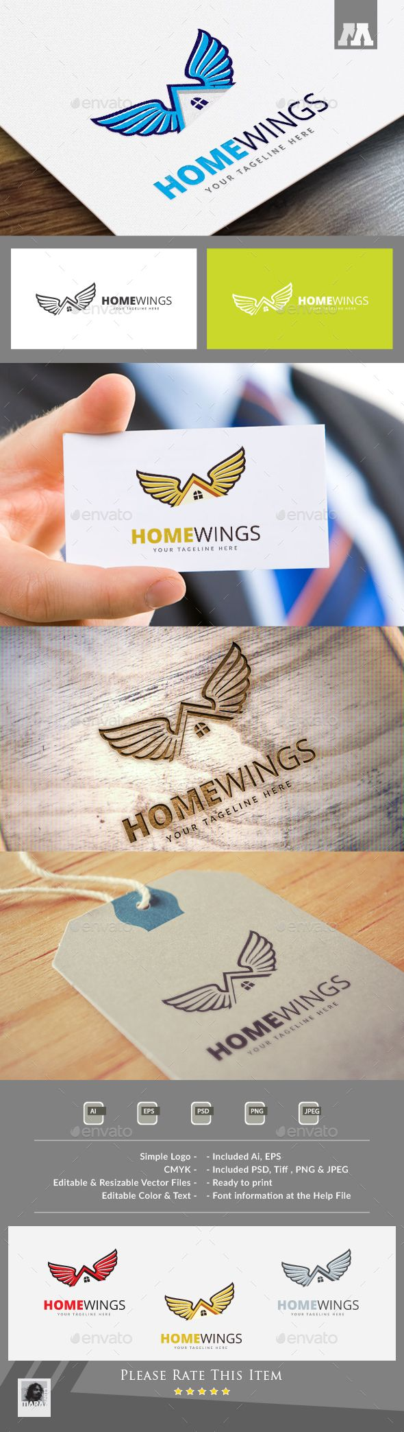 Home Wings Logo #photoshop #psd #identity #media • Available here → https://graphicriver.net/item/home-wings-logo/13438278?ref=pxcr