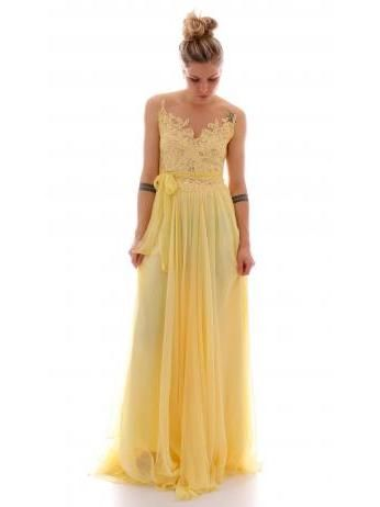 Rhea Costa - Lace and tulle gown in yellow