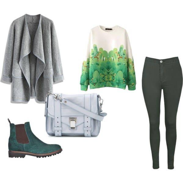 бело-зеленый свитер, темно-зеленые брюки, серое пальто