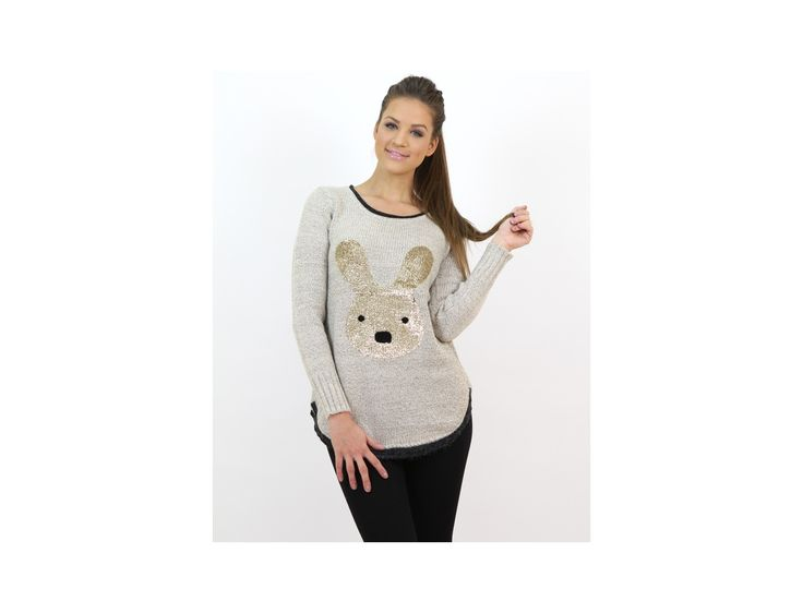 Bunny Print Knitted Sweater - Jumpers and Cardigans - Famevogue- www.famevogue.ro  #jumpers #pulover #style #fashion #haine #trends