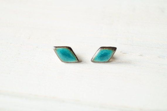 SALE 25% Off Turquoise Earrings Ceramic Studs Stud by bemika