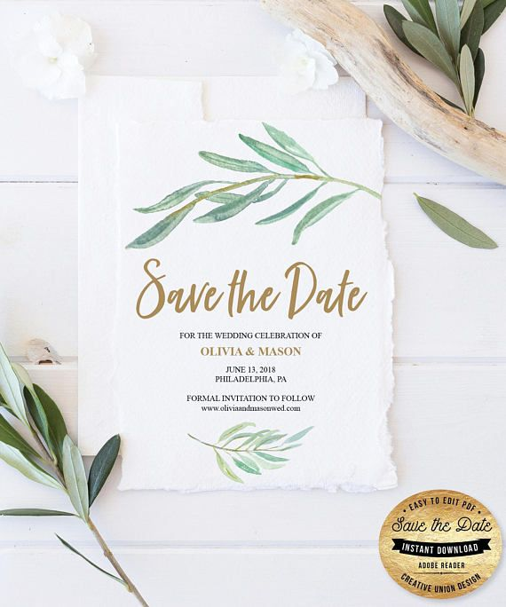 Save the Date Template - Save The Date - Rustic Greenery Save The Date - Save The Date Ideas - Save The Date Cards - Wedding Ideas On A Budget - Save The Date by CreativeUnionDesign.Etsy.com #wedding #weddingideas #savethedate #budget #printable #diy