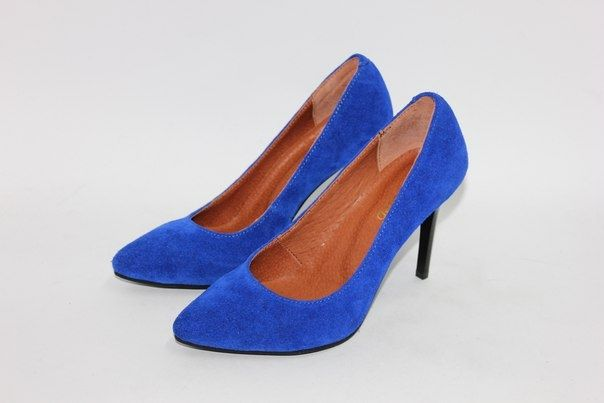 Яркие синие замшевые туфли-лодочки
