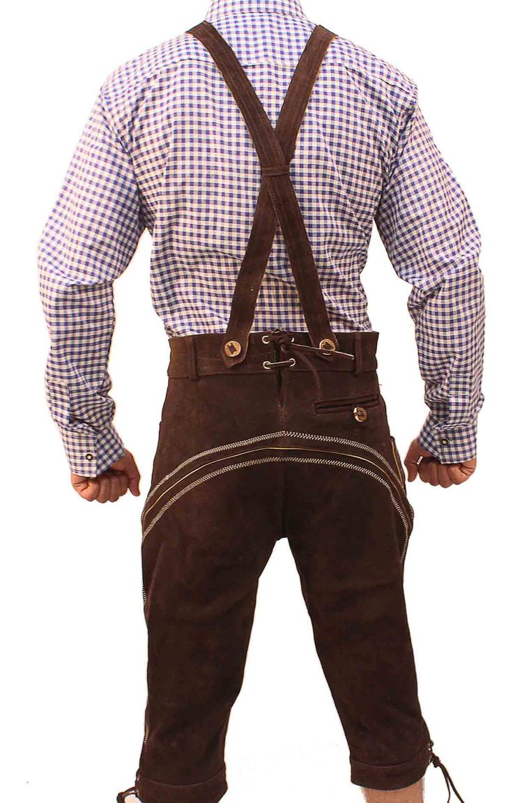 Authentic lederhosen for men. Long kniebund lederhosen and short leather trousers. Perfect german costumes for ocktoberfest! Stylish lederhosen for men with embroidery and adjustable buckles. Buy lederhosen now for sale with a free bavarian shirt.   #Tracht #Dirndl #German #Outfits #cheap #Oktoberfest #lederhosen #bundhosen #trousers #shorts