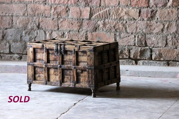 Chetna+Antique+Timber+and+Steel+Trunk