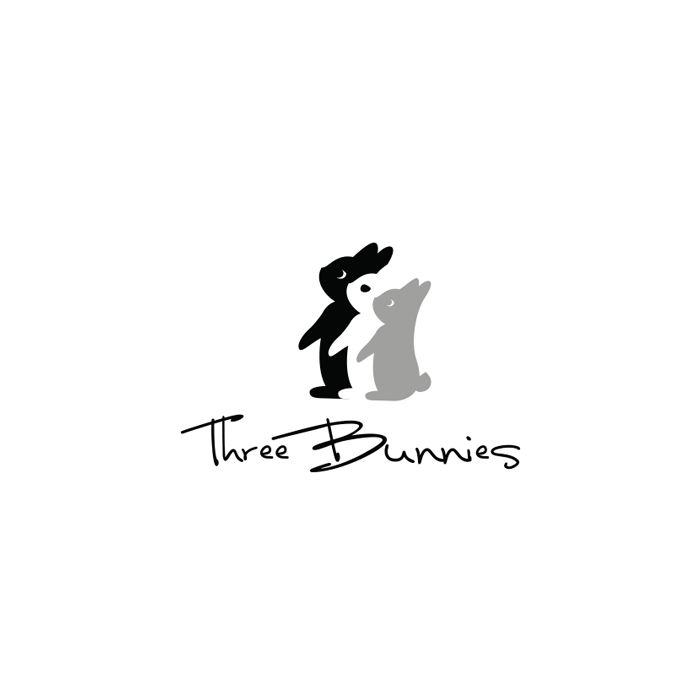 Three Bunnies Vegan Food Logo Design – Dasha M