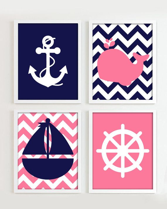 Nautical Prints - Navy and Baby Pink set of 4 - Girl Beach Ocean Sea more colors available