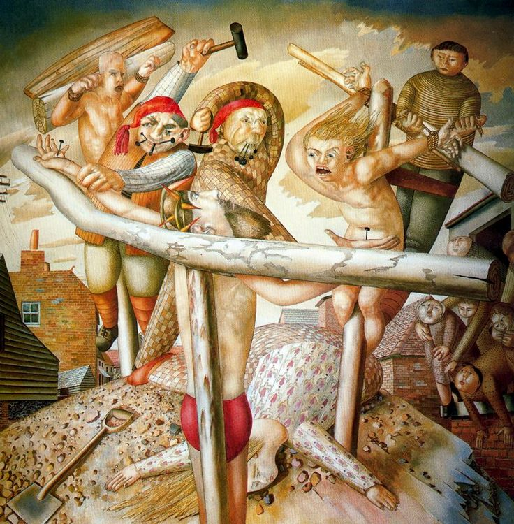 How many crucifixion paintings were done from this perspective? The crucifixion, Stanley Spencer
