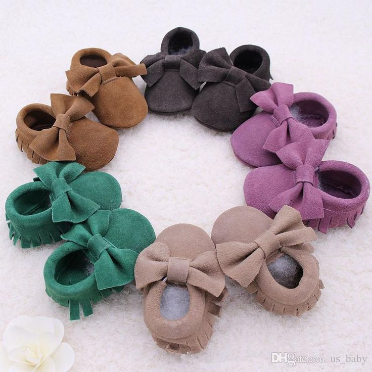 Retail New Baby Suede Genuine Cow Bow Moccs Wholesale Infant Moccasins Soft Leather Baby Booties Toddler Walking Shoes