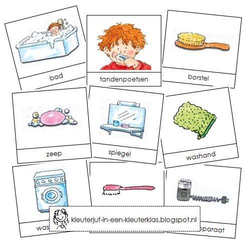 Activiteiten met woordkaarten bij het thema 'Badkamer' (met tekeningen van Dagmar Stam)