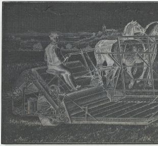 Woodblock depicting a horse drawn plough, wood. One of a collection of woodblocks of illustrations used by W. & R. Chambers Ltd, 1840s - early 20th century