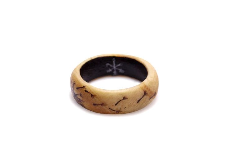 Hand painted dandelion on wooden ring by Huntress & Hunter. Limited edition miniature wearable art pieces.