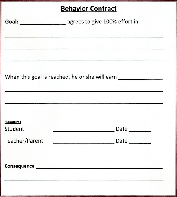 Behaviour Contract Template How Behavior Self Monitoring Can Hold