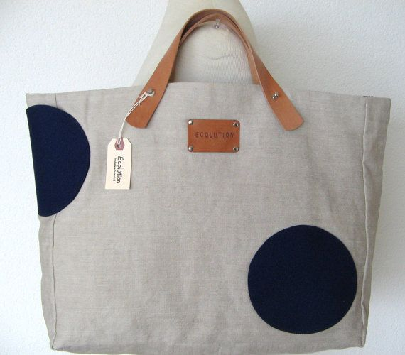 French Linen Riviera Beach Bag. XL Shopping Tote- Leather handles -sand - indigo blue. Personalized. Unique wool felt circle pockets