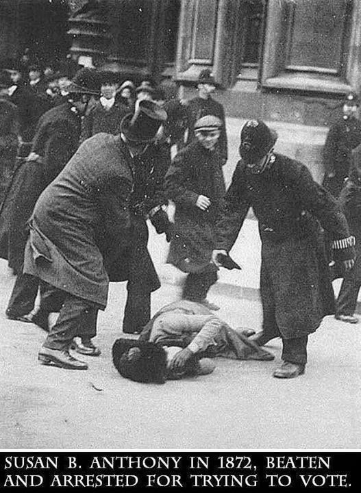 Susan B. Anthony, beaten for trying to vote 1872