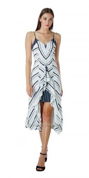 Striped A Boo Ruffled Ava Midi Dress By Adelyn Rae