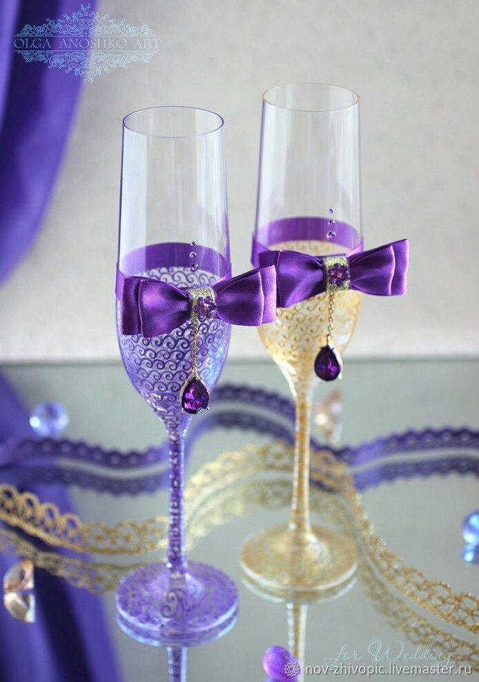 """Buy Wedding glasses """"l'amour"""", painting on glass on Livemaster online shop"""