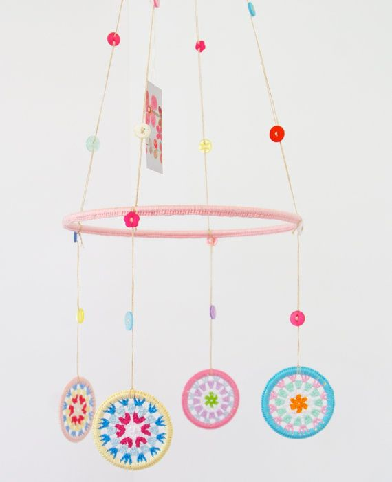 Granny Circle Crocheted Mobile by peaqo on Etsy, $80.00