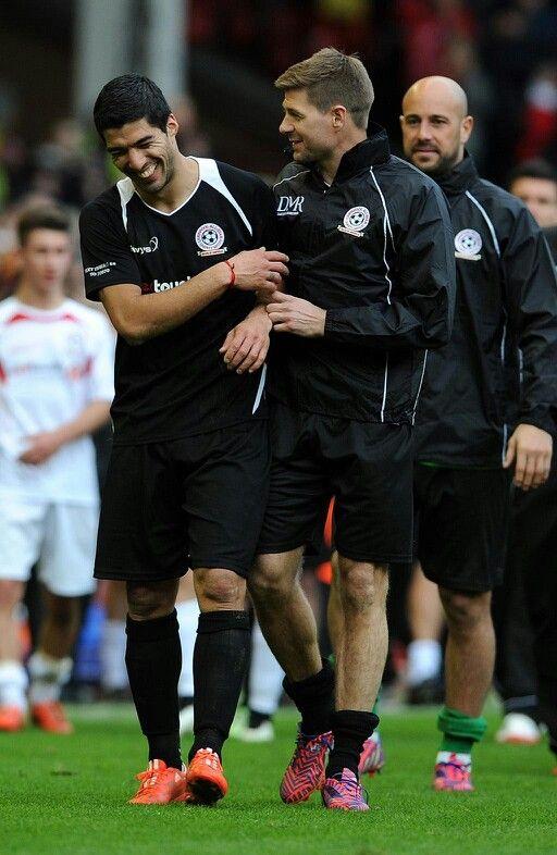 Steven Gerrard Luis Suarez, March 2015 Charity Match