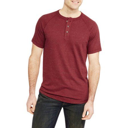 Faded Glory Big Men's Henley Tee, Size: 4XL, Red