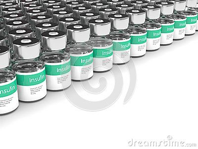 3d rendering of insulin vials isolated over white background