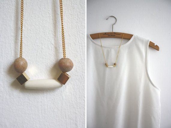 Necklace wood / gold WOOD LOVE THREE by thingslikediamonds