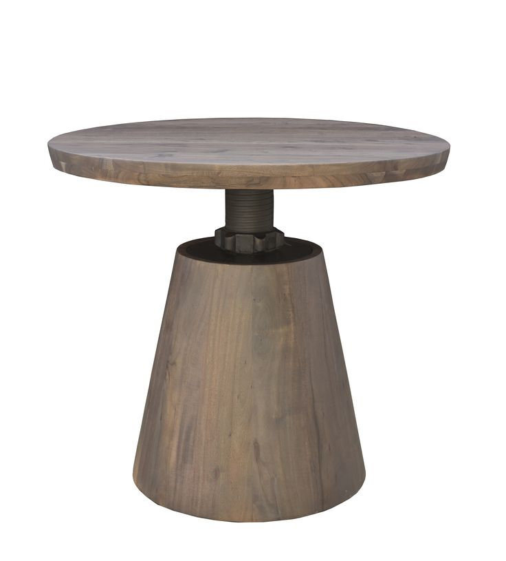 """Bronx Bistro Crank Table Dimensions: WDH"""": 36 x 36  with adjustable top 60-42"""" Made with Acacia Wood  Vinegar Matte Finish"""
