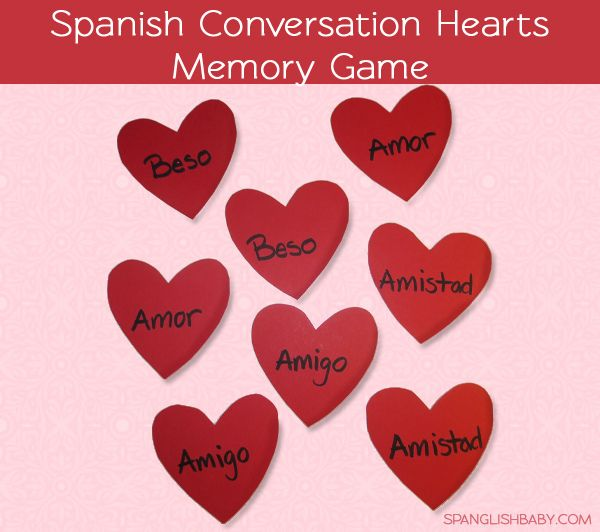 Spanish conversation hearts memory game by @RUBY DW on SpanglishBaby.com