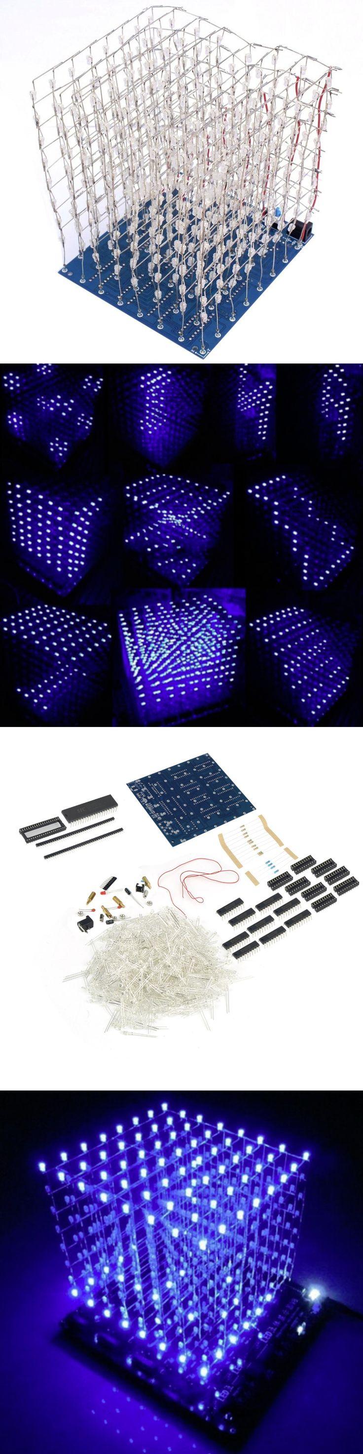 3D Squared DIY Kit 8x8x8 3mm LED Cube White LED Blue/Red Light PCB Board Wholesale